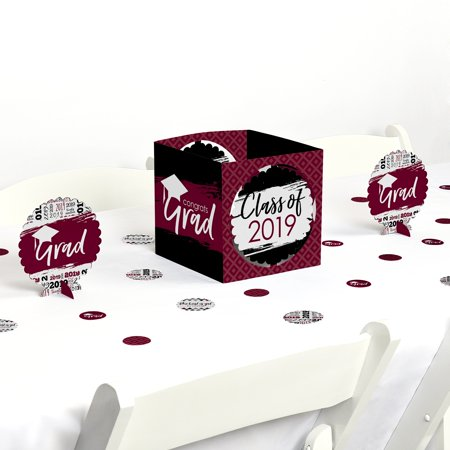 Maroon Grad - Best is Yet to Come - Burgundy 2019 Graduation Party Centerpiece & Table Decoration