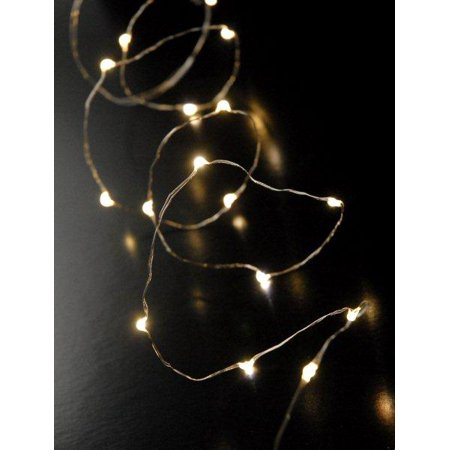 led fairy lights 20 leds battery operated 6 foot warm white silver wire strand submersible 20