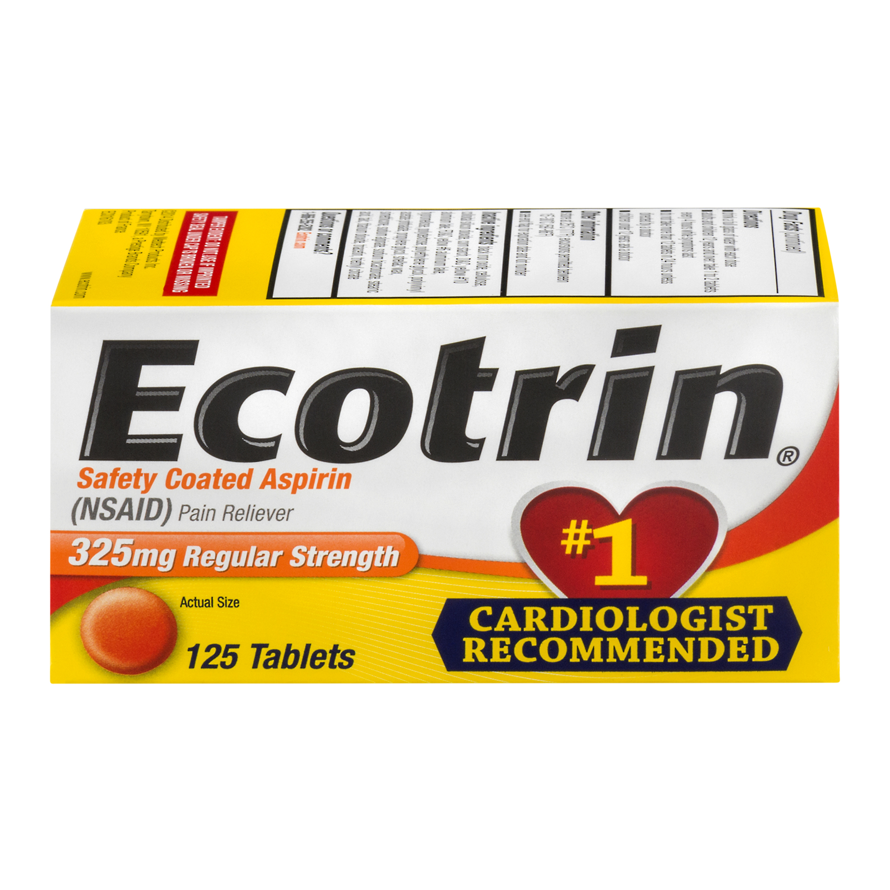 Ecotrin Safety Coated Aspirin Tablets Regular Strength - 125 CT