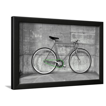 Black 1 Light Chain (A Fixed-Gear Bicycle (Also Called Fixie) In Black And White With A Green Chain Framed Print Wall Art By)