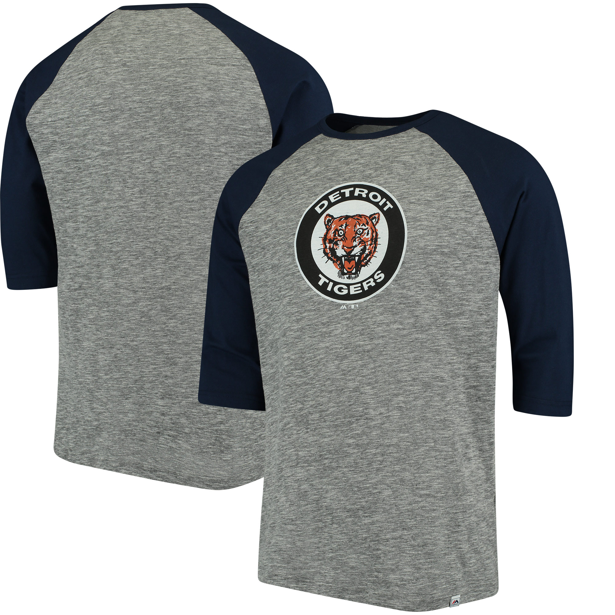 Detroit Tigers Majestic Cooperstown Collection Logo 3/4-Sleeve Raglan T-Shirt - Gray/Navy