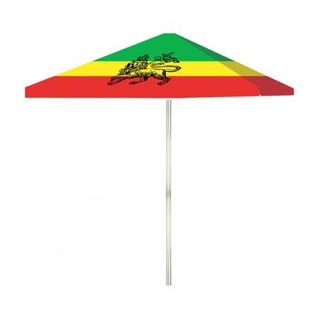Best of Times Reggae Flag 6 ft. Steel Square Market (6 Square Umbrella)