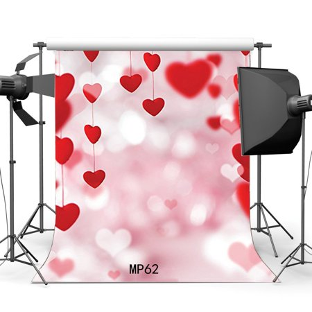 GreenDecor Polyster 5x7ft Valentine's Day Backdrop String Red Sweet Hearts Background Bokeh Halos Glitter Sequins Pink Romantic Wedding Photography Backdrops Girls Lover Photo Studio Props