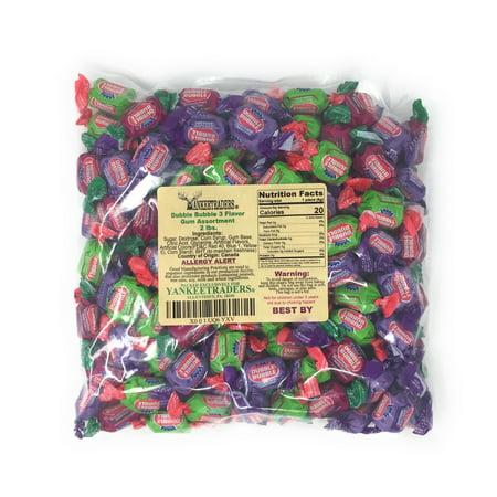 Dubble Bubble, 3 Flavor Assortment, Grape, Watermelon, Apple, Wrapped Bubble Gum, 2 (Gem Assortment)