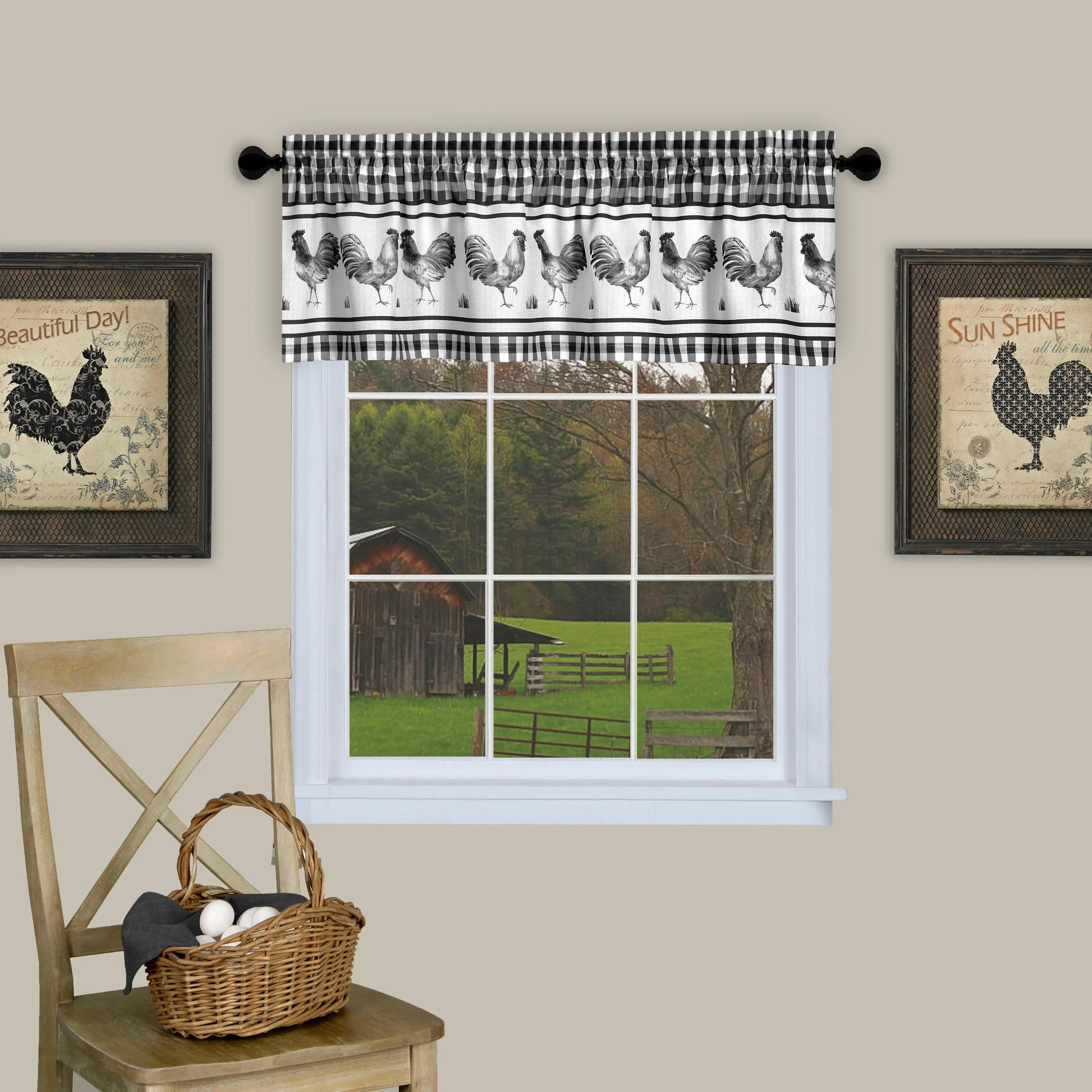 "Barnyard Rooster Kitchen Window 14"" Valance Curtain"