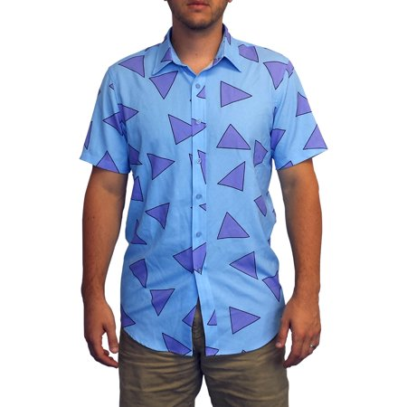 Rocko's Shirt Nickelodeon Modern Life Blue Button Down Up Costume Cosplay - Cosplay Costumes For Halloween