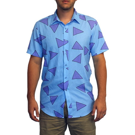Anime Cosplay Costumes For Men (Rocko's Shirt Nickelodeon Modern Life Blue Button Down Up Costume)