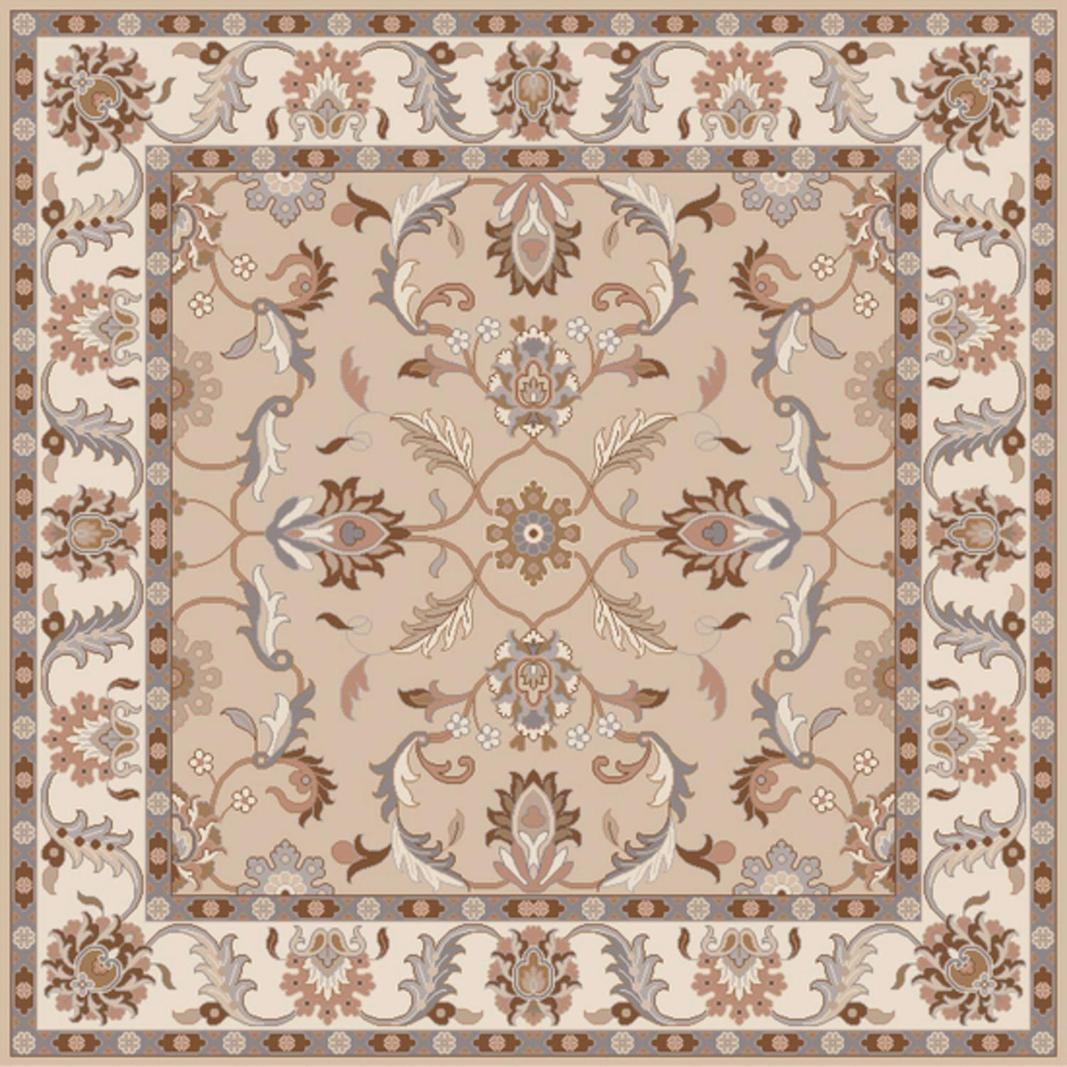 4' x 4' Publius Tan, Lavender Gray and White Hand Tufted Wool Area Throw Rug
