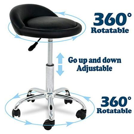 Swivel Drafting Stool Black Ergonomic Rolling Chair