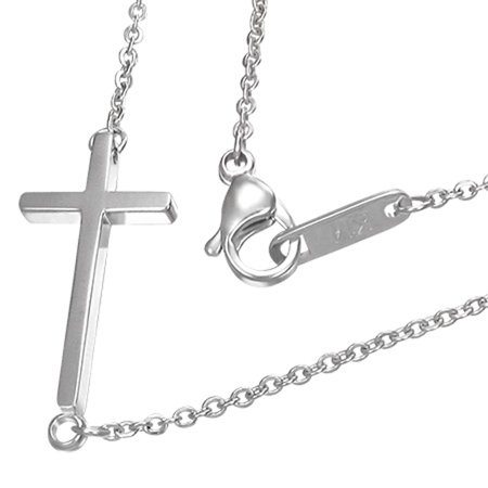 Stainless Steel Sideways Horizontal Cross Pendant Necklace, 18