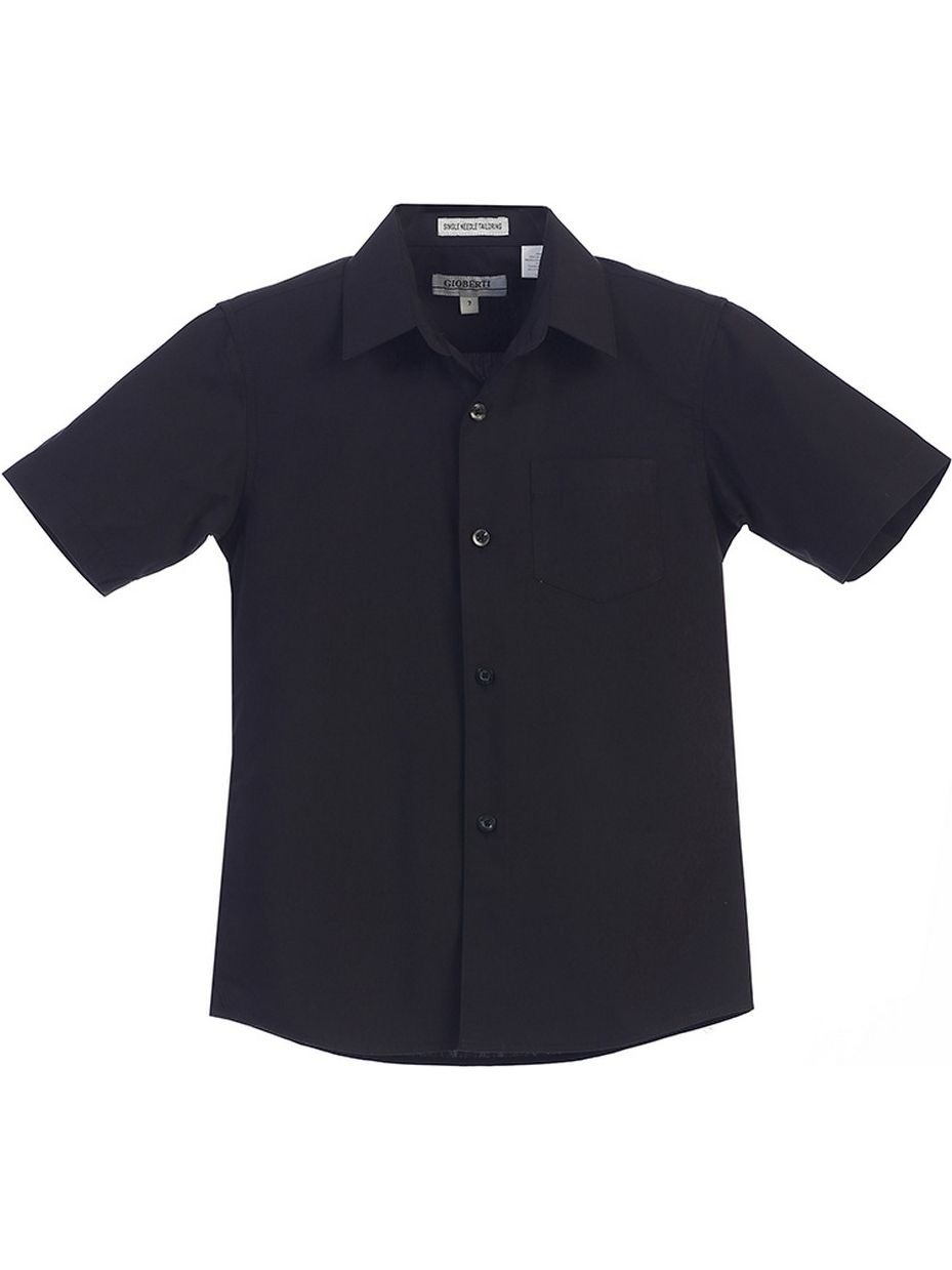 Gioberti Little Boys Black Solid Color Button Down Short Sleeved Shirt