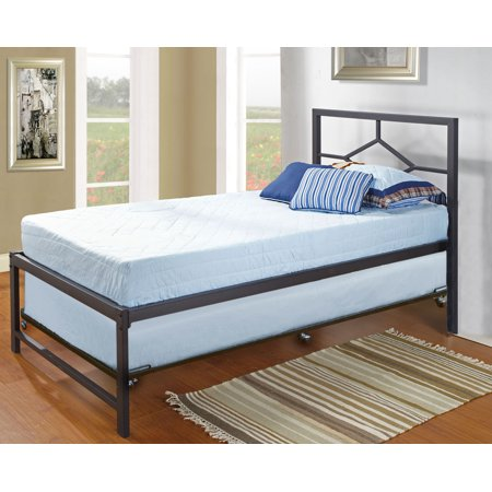 39  Twin Size Day Bed Frame With Roll Out Trundle  Headboard  Rails   Slats  Twin Daybed   Trundle