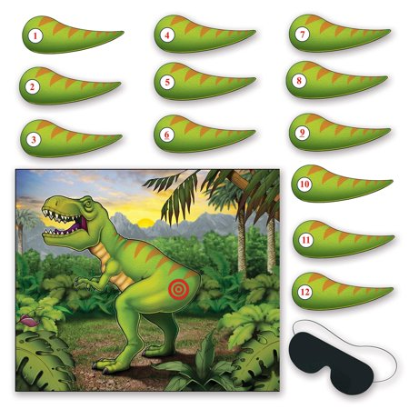 Club Pack of 24 Pin the Tail on the Dinosaur Birthday Party Games - Dinosaur Party Games