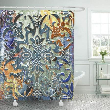 KSADK Carving Digital Design Floral Effect Tulip Abstract Alabaster Shower Curtain Bathroom Curtain 60x72 -