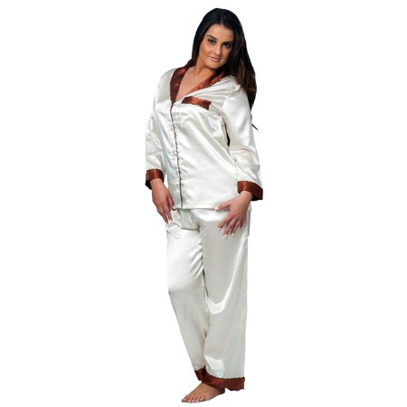 ef0670cb3e Up2date Fashion s Women s Shawl Collar Satin Pajama Set with Piping