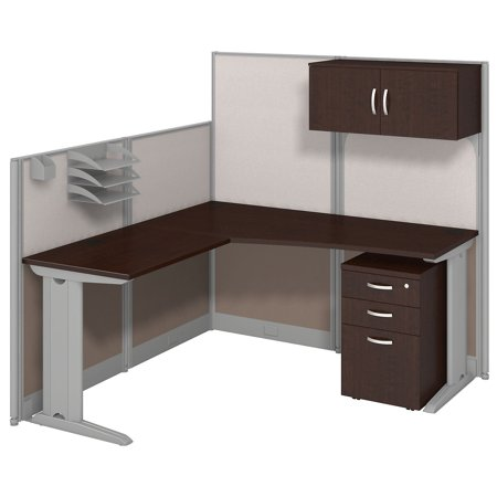 Bush Business Furniture Office in an Hour 65W x 65D in. L Shaped Cubicle Workstation Desk with Optional Storage and