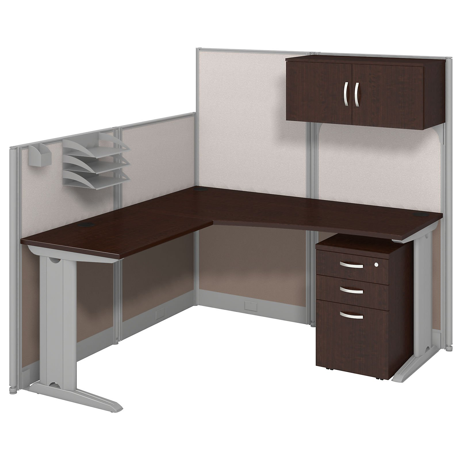 Bush Business Furniture Office in an Hour 65W x 65D in. L Shaped Cubicle Workstation Desk with Optional Storage and Chair