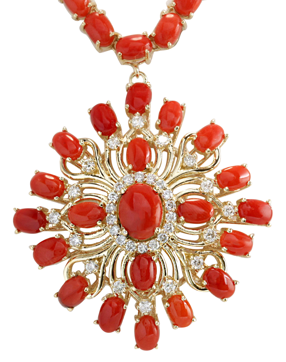 53.01CTW Natural Red Coral And Diamond Necklace In 14K Yellow Gold by