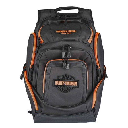 Harley-Davidson Neon Orange Bar & Shield Deluxe Backpack, Black BP2000S-ORGBLK, Harley Davidson