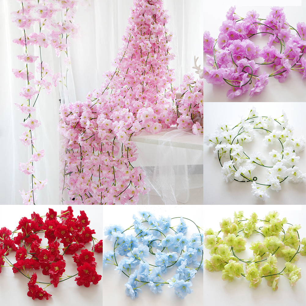 HiCoup Artificial Fake Cherry Blossom Vine Flower Plant Wedding Party Home Decoration
