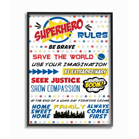 The Kids Room by Stupell Comic Book Dots Super Hero Rules Typography Oversized Framed Giclee Texturized Art, 16 x 1.5 x 20 - Comic Book Superhero