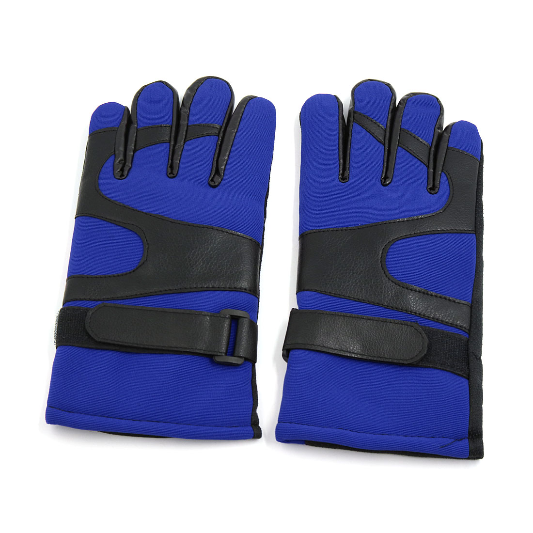 Unique Bargains Winte Blue Nonslip Plush Lining Full Finger Gloves Pair for Motorcycle Motorbike