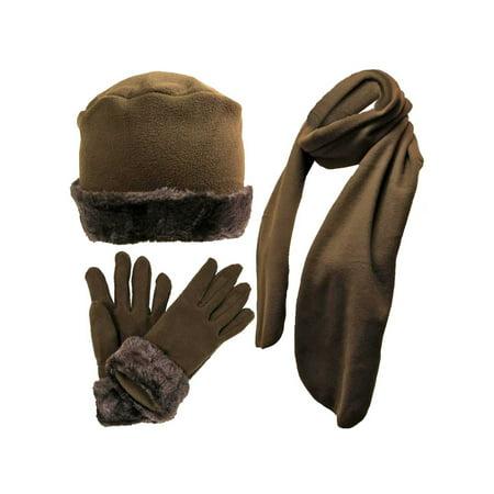 Brown Faux Fur Trim Fleece 3 Piece Hat Scarf & Glove Set
