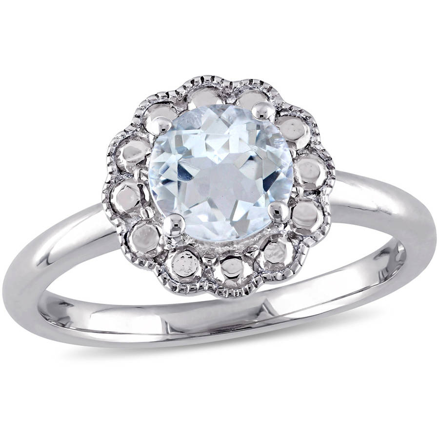 Tangelo 1 Carat T.G.W. Aquamarine 10kt White Gold Flower Cocktail Ring by Tangelo