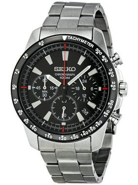 Seiko Men's SSB031 Black Stainless-Steel Quartz Fashion Watch