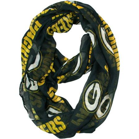 Little Earth - NFL Sheer Infinity Scarf, Green Bay Packers (Green Bay Packers Silk Scarf)