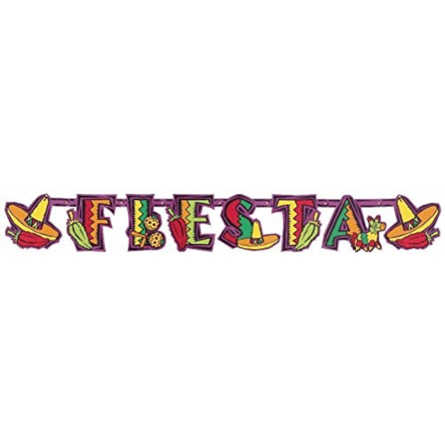 "Amscan Cinco de Mayo Fiesta Party Illustrated Letter Banner Decoration, Paper, 4' x 7"","