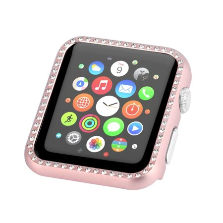 Bling Watch (Bling Rhinestones Aluminum Metal Cover Bumper Case for Apple Watch Series 4 40mm Rose Gold #56C)