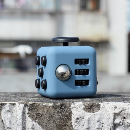Coolingup Fidget Cube Anxiety Stress Relief Attention Toy Black Blue