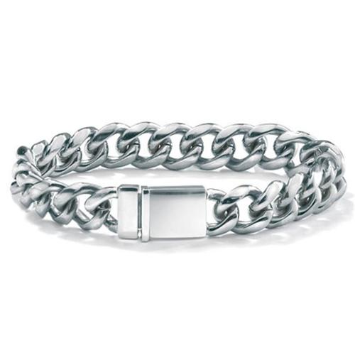 PalmBeach Jewelry 44178 Mens Stainless Steel Curb-Link Bracelet 8 inch