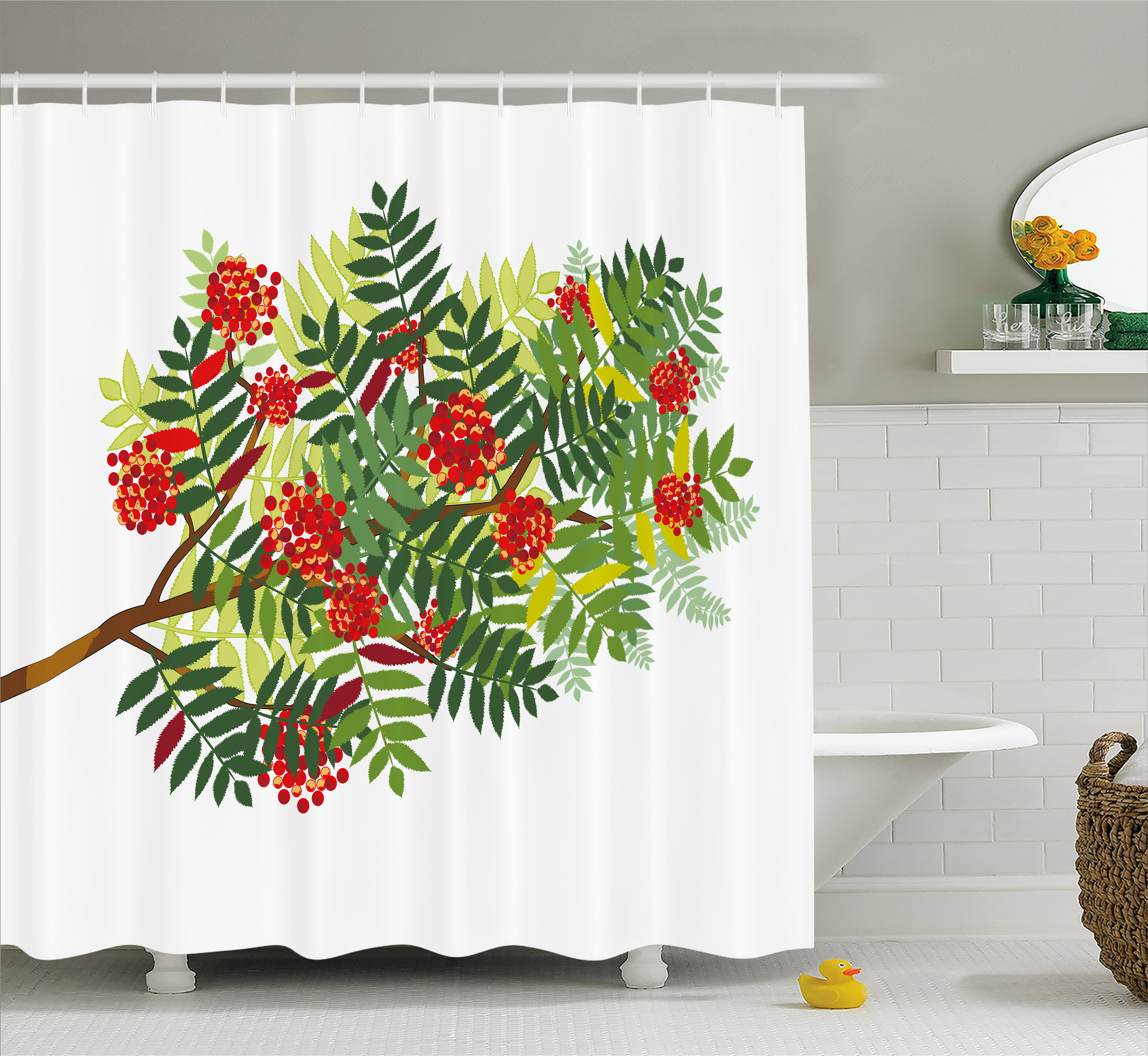 Rowan Shower Curtain Graphic Tree Branch With Green Colored Leaves And Berries Seasonal Fabric Bathroom Set With Hooks Red Dark Green Appple Green