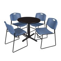 """Regency 5-Piece 36"""" Round Lunchroom Table with Metal """"X"""" Base and 4 Zeng Chairs"""