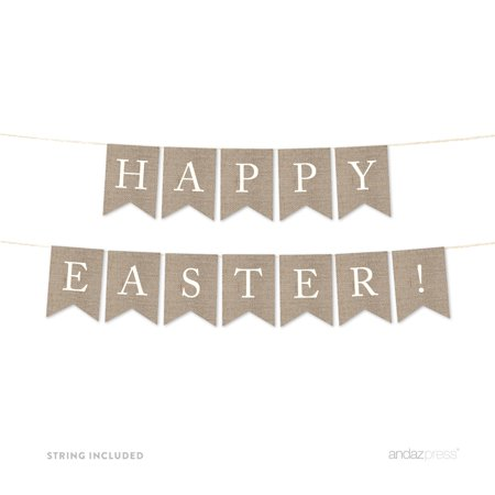 Happy Easter! Burlap Pennant Party Banner