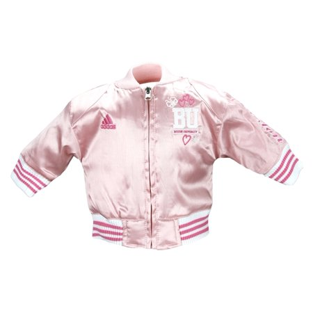 Adidas Newborn Girls Boston University Terriers Varsity Satin Jacket - - Girls Pink Jackets