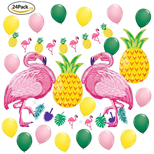 Summer Party Decoration Kit Tropical Party Flamingo Pineapple Garland Banners Yellow Pink Dark Latex balloons Hawaiian Luau Beach Supplies Flamingos Pineapples Party Decor