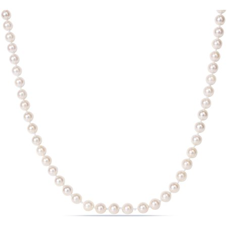 Miabella 6-6.5mm White Round Akoya Pearl 14kt Yellow Gold Strand Fashion Necklace, 16