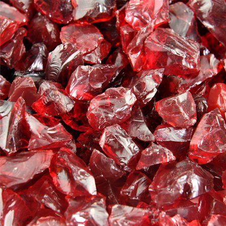 Red Fire Glass | Burgundy Rose, Crushed Fire Glass, 1/2