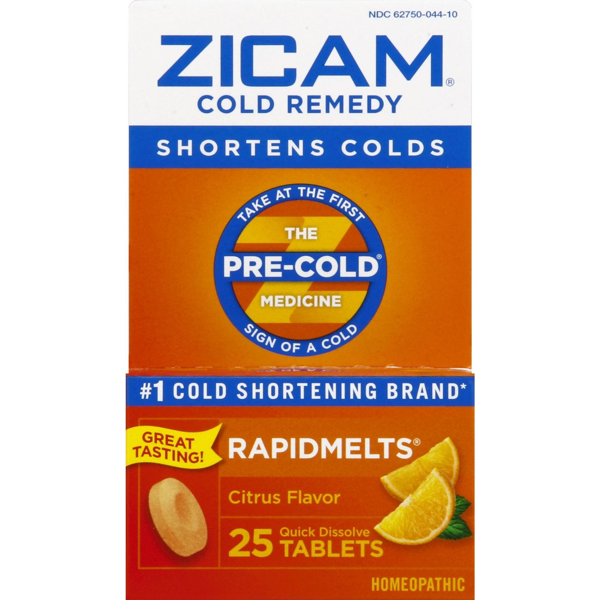 Zicam Cold Remedy Rapidmelts, Citrus Flavor, 25 Quick-Dissolve Tablets