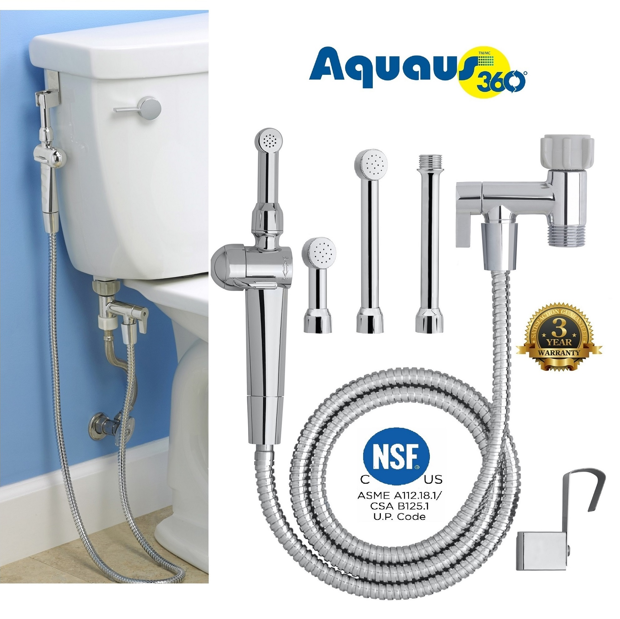 "RinseWorks - Patented Aquaus 360 Bidet - Hand Held Bidet w/ Dual Ergonomic Thumb Pressure Controls on Both Sides of the Sprayer for EZ Pressure Control - 3 Spray Heads & 5"" Extension Included!"