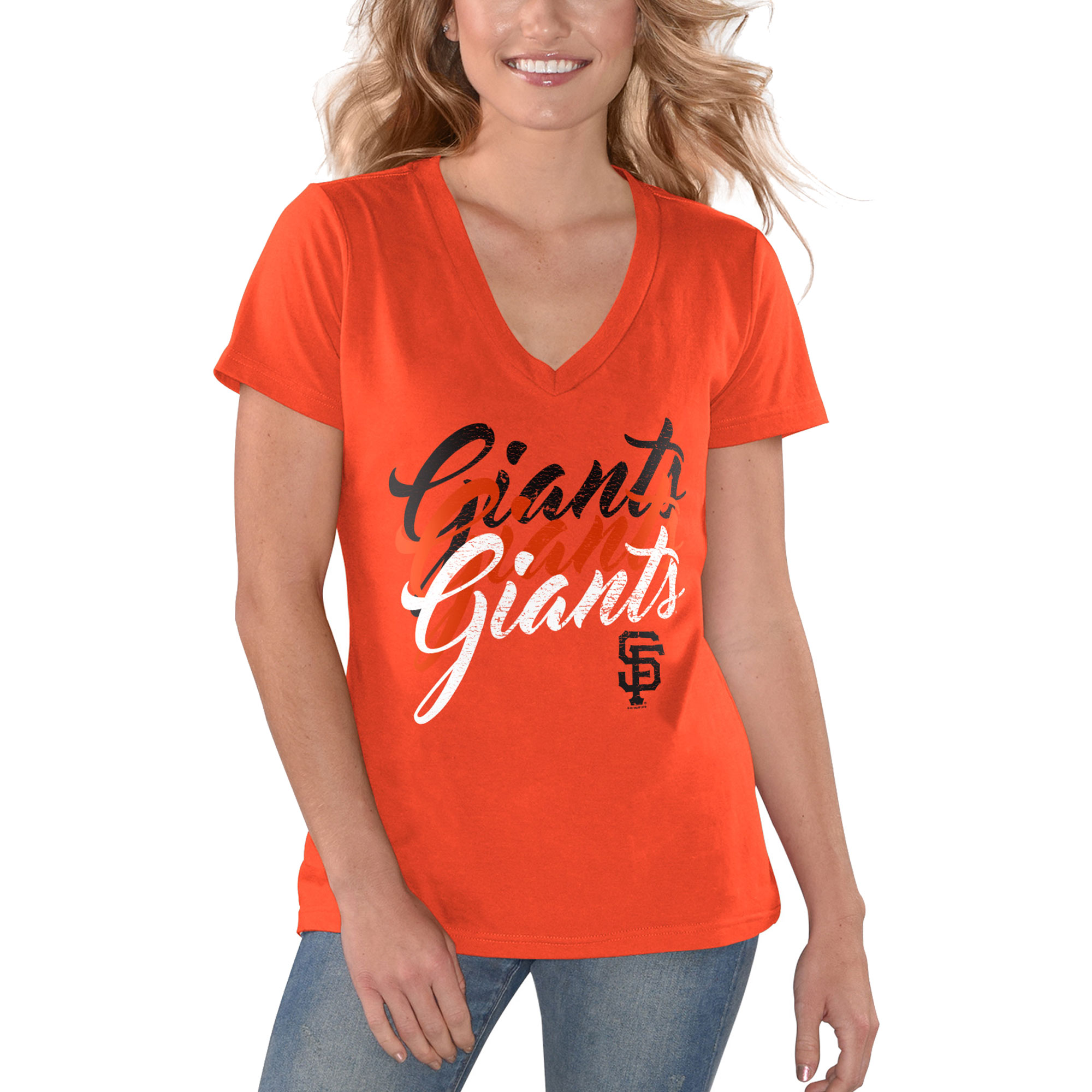 San Francisco Giants G-III 4Her by Carl Banks Women's Game On V-Neck T-Shirt - Orange