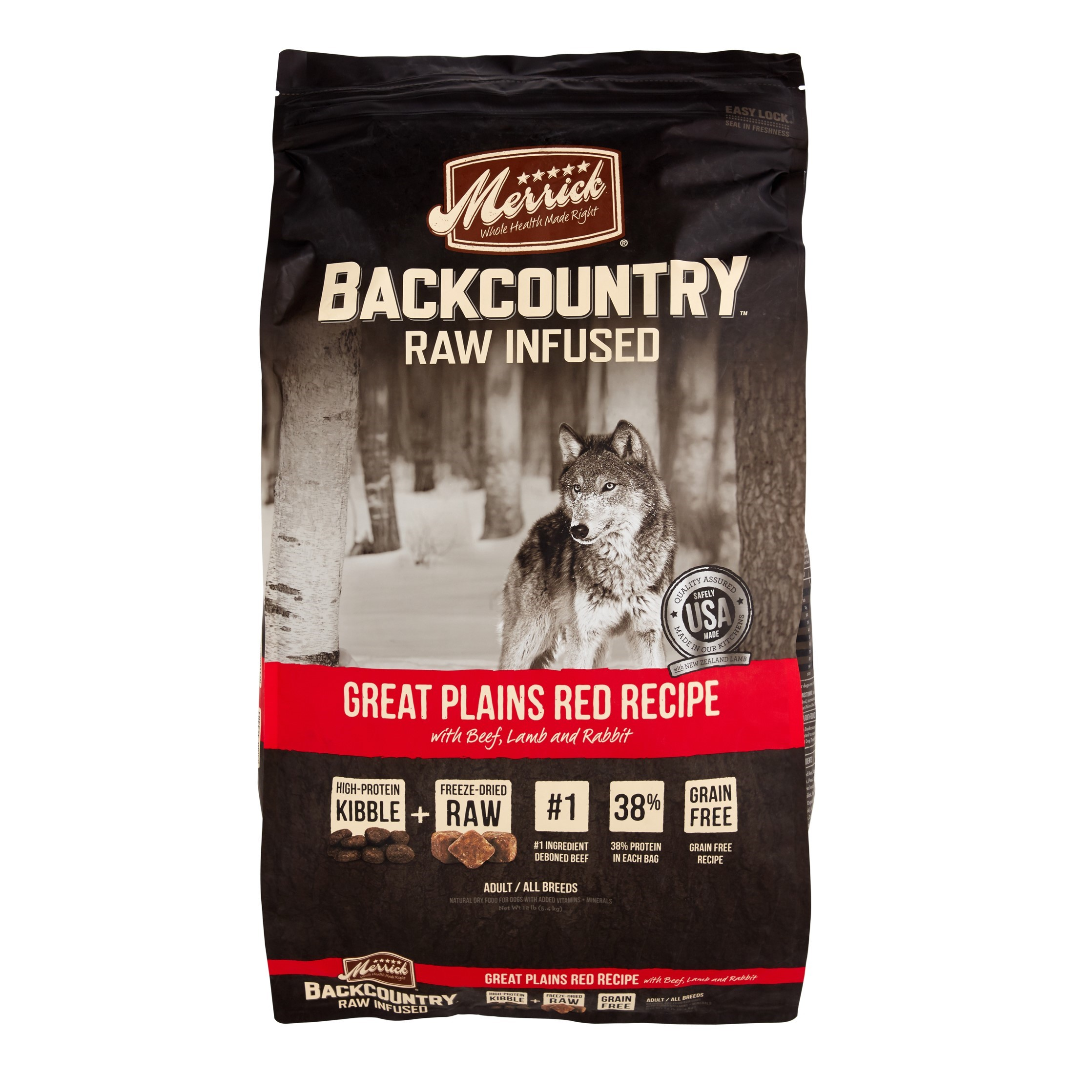 Merrick Backcountry Grain-Free Raw Infused Great Plains Red Recipe Dry Dog Food, 12 lb