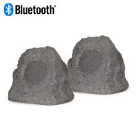 Theater Solutions RK4GBT Powered Bluetooth Outdoor Granite Rock Speaker Pair with Dual Connection Options