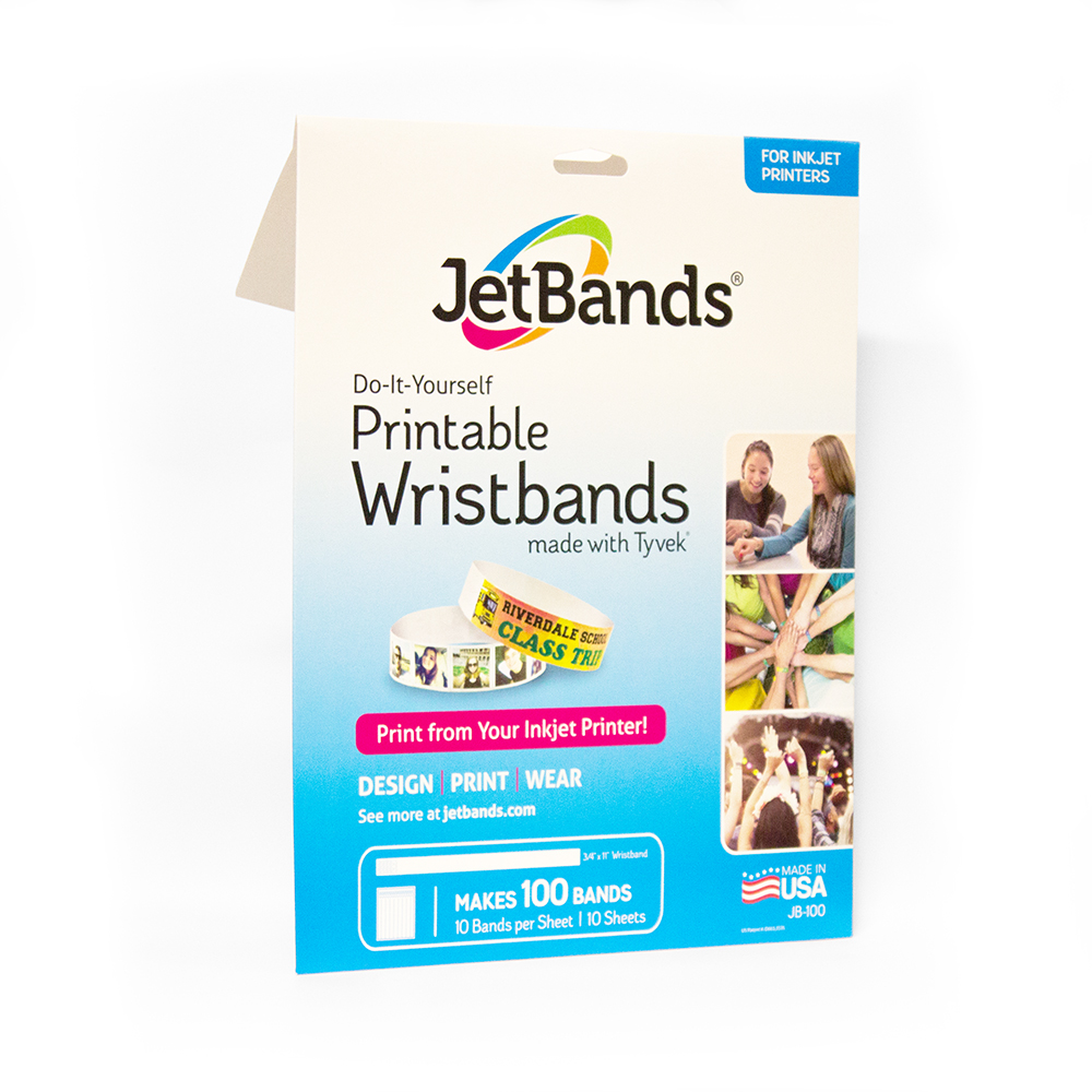 graphic relating to Printable Wristbands identify JetBands Do-it-yourself Inkjet Printable Tyvek Wristbands - 100 Depend