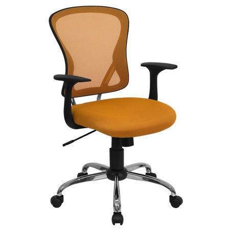 A Line Furniture Posey Orange Mesh Back Adjustable Swivel Office Arm Chair with Chrome Base ()