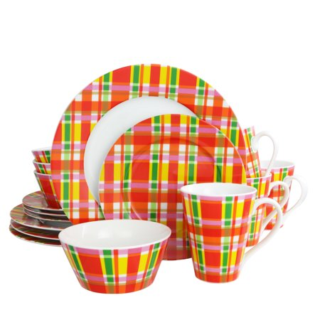 Oui by French Bull Multi Plaid 16 Piece Porcelain Dinnerware - French Lace Porcelain