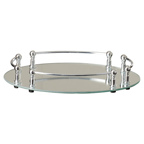 Alcott Hill Strohmeyer Oval Vanity Mirror Tray with Rails by